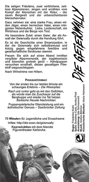 Download: Die Geierwally, Puppentheater: der Flyer.